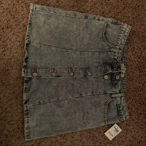 Refugee blue jean mini skirt